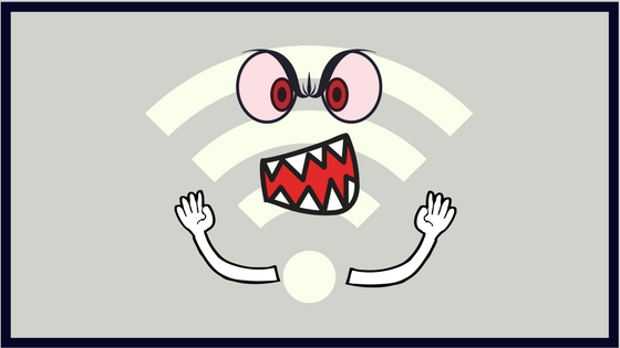 Wifi symbol with grimacing face