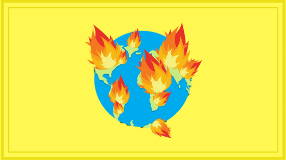 Illustration of Earth on Fire